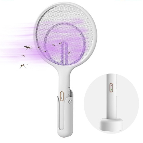 Electric Fly Swatter Rechargeable Bug Zapper Tennis Racket 3 Layer Mesh Handheld Bug Zapper for Indoor and Outdoor Pest Control (Hanger+Stander)