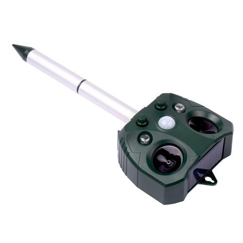 Solar Ultrasonic Repeller Waterproof Outdoor Pest Animal Expeller with Motion Sensor and Flashing Li