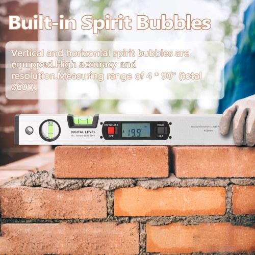 400mm Digital Protractor Angle Finder Electronic Level 360 Degree Inclinometer with Magnets Level Angle Slope Tester Ruler Digital Spirit Level