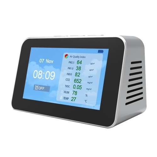 DM601 Multi-function LCD Screen Air Quality Detector PM2.5 PM1.0 PM10 CO2  TVOC Particle Detectors Temperature Humidity Monitor
