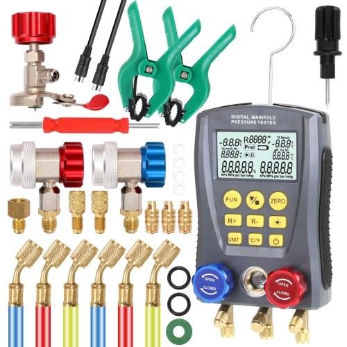 Pressure Gauge Refrigeration Digital Vacuum Pressure Manifold Tester Meter HVAC Temperature Tester