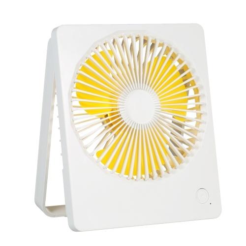KKmoon Cordless Mini Portable Desk Fan USB Fan Rechargeable Li-ion Battery Fan Battery Operated Table Fan with Night Light 2 Brightness & 3 Wind Speed Adjustable