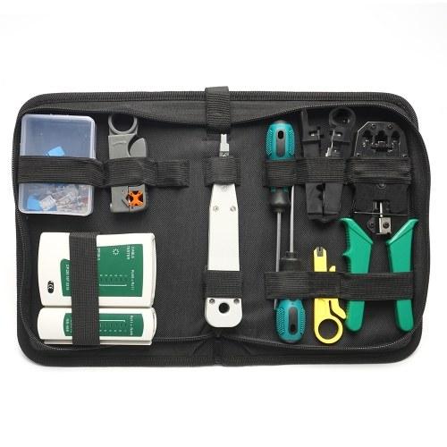14 шт. Портативный сетевой аппаратный пакет Ethernet сумка инструмент сетевой кабель LAN обжимные клещи набор инструментов набор инструментов для ремонта сети двойной тестер сетевых кабелей