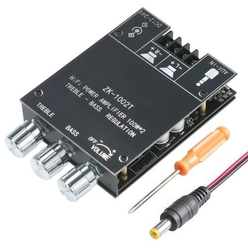 Модуль платы цифрового усилителя мощности 100 Вт x 2 BT5.0, плата стерео аудио AMP с регулятором громкости высоких и низких частот для динамиков DIY