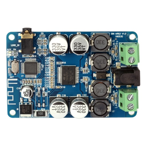 TDA7492P 2*25W Wireless BT V2.1 Audio Receiver Amplifier Board Module with AUX Interface