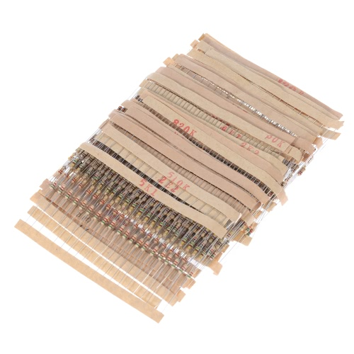 1000pcs 1/4W 50 Values 1 ohm to 1M ohm Carbon Film Resistors Assortment Kit Electronic Components