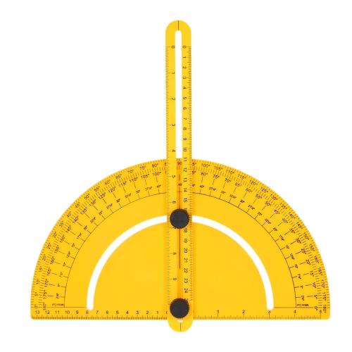 Инструмент для определения угла наклона пластикового транспортира. Измерение линейки. Гониометр. Шарнирное оружие. Шаблонный инструмент для мастеров-строителей. Ремесленники. 180 градусов. 25 см. Правило. Дюймовая метрика.