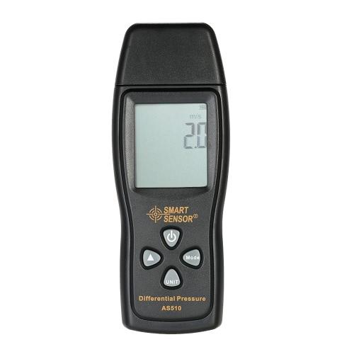 SMART SENSORポータブルデジタルLCD圧力計差圧マノメータ温度範囲0〜100hPa測定範囲