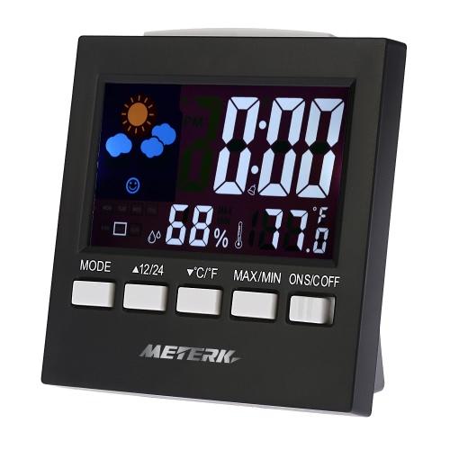 Meterk Multi-funcional Digital Colorful LCD Thermometer Higrômetro Relógio Alarme Snooze Função Calendário Weather Forecast Display