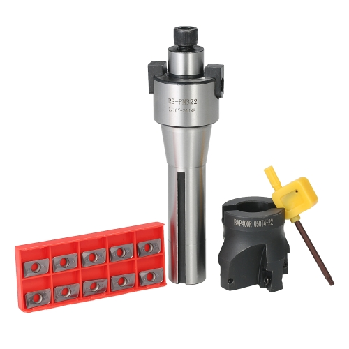 """2 """"R8-FMB22 Shank Face Shell Mill Arbor + 400R 50MM Cortador de fresado de extremo CNC + 10pcs / box APMT1604 Fresas de carburo + T15 Llave Herramientas de máquina CNC"""