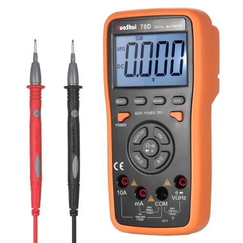RuoShui 5999 Contas Auto Range True RMS Multímetro digital multifuncional DMM com DC AC Tensão Corrente Medidor Resistência Diodo Capacitância Testador de freqüência Teste de continuidade da medição de campo elétrico HZ Luz de fundo Exibição LCD