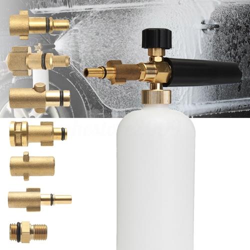 "TOMTOP / Adjustable Car Wash Snow Foam Lance Pressure Nozzle Soap Bottle Gun 1/4"" Adapter for Karcher Bosch Lavor Nilfisk Bubble Foaming Washer"
