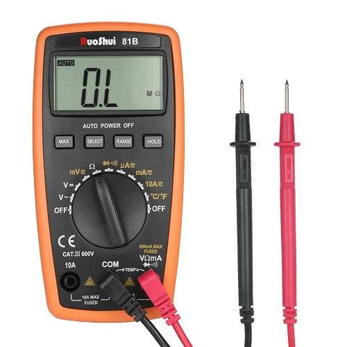 RuoShui 1999 Contagem Auto Range Multímetro digital DMF multifunções com DC AC Tensão Corrente Medidor de resistência Diodo hFE Teste de temperatura Teste de continuidade Monitor LCD