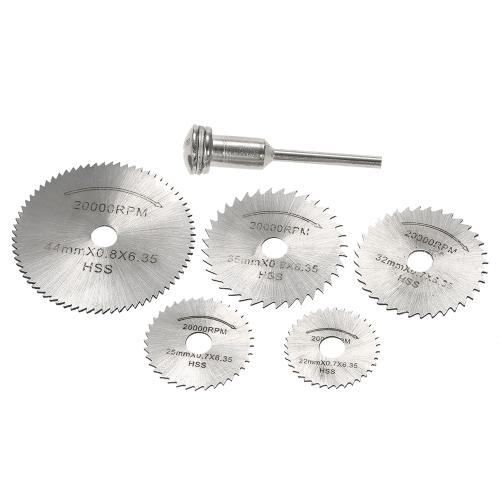 """Set di attrezzi di taglio rotativi da 6 pz. HSS con setto 1/8 """"per tagliare legname e plastica"""