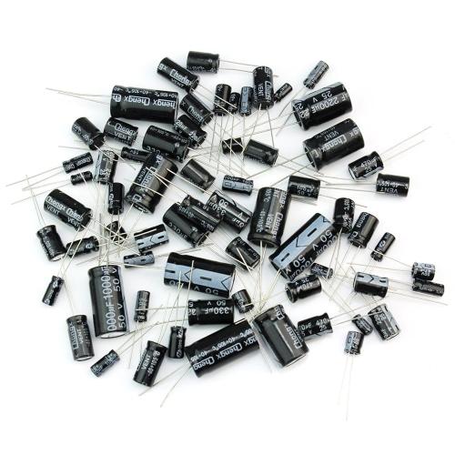 Set di kit assortimento di condensatori elettrolitici di uso comune da 125 pezzi 25 valori da 1uF a 2200uF