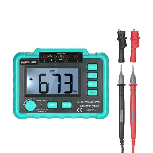 WinsPEAK VC60B + LCD Tester di resistenza di isolamento digitale Misuratore Megohm Megaohmmetro DC250V / 500V / 1000V AC750V