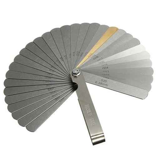 32pcs misuratore di spessore del riempitore delle lame d'ottone 0.04-0.88mm strumento di misura multifunzionale di spessore di calibro