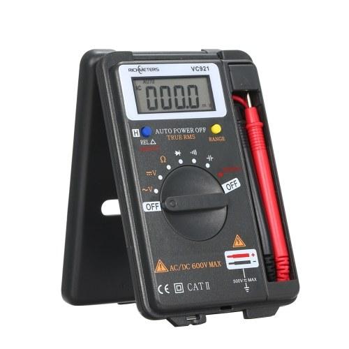RICHMETERS Ручной мини цифровой мультиметр Многофункциональный 4000 отсчетов Мультиметр AC / DC Транзистор Тестер напряжения Амперметр Датчик температуры Тестовый щуп VC921