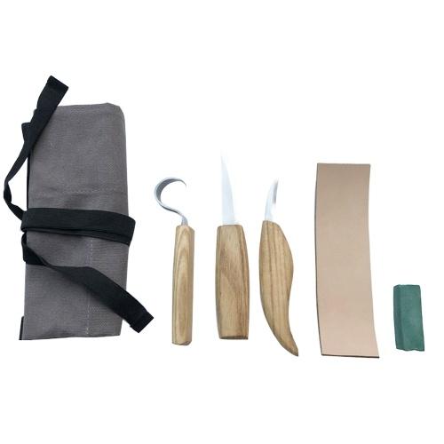 5pcs taglierina per intaglio del legno in acciaio inossidabile Set di coltelli per trucioli intagliati a mano in legno fai-da-te per utensili a mano per la lavorazione del legno