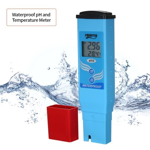 Waterproof pH and Temperature Meter pH/Temp. Dual Display Portable pH Meter Water pH Meter Auto Calibration ATC Tester Water Quality Analysis Device
