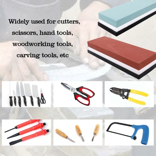 Double-sided Bicolor Whetstone Cutter Sharpener Stone for Kitchen White Corundum Sharpening Tool with Silica Gel Underlay