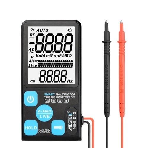 MESTEK MINI-S10 3.5インチ大画面超薄型インテリジェントマルチメーター全自動多機能家庭用デジタルマルチメーター小型アンチバーニングTrue RMS AC / DC電圧抵抗計、懐中電灯データホールド機能付き