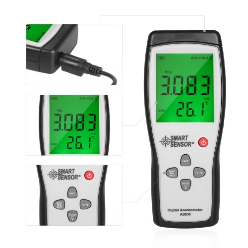 SMART SENSOR Separate Structure Anemometer Hand-held Anemometer with Impeller Wind Temperature Digital Display High Precision Industrial Anemoscope Kit AS836