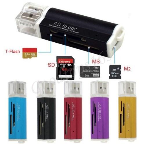 USB 2.0 Todo en 1 Lector de tarjetas de memoria múltiple para Micro SD SDHC TF M2 MMC MS PRO DUO