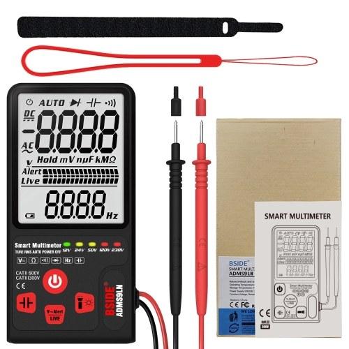 BSIDE 9999 рассчитывает интеллектуальный мультиметр True RMS Цифровой мультиметр Измерение частоты сопротивления напряжению переменного / постоянного тока с ЖК-дисплеем Измеритель напряжения постоянного тока / переменного тока Сопротивление Диодный тестер Измерение непрерывности V ~ Предупреждение и проверка провода под напряжением