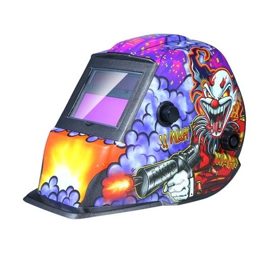 Schweißhelm Solarbetriebene Auto-Verdunkelungshaube mit einstellbarem Farbbereich 4 / 9-13 für Mig-Wig-Lichtbogen-Schweißermaskenschild Lila Clown-Design