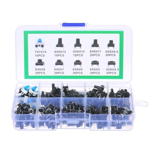 180PCS Tactile Push Button Switch Micro Momentary Tact Assortment Kit 10 Value 6 x 6mm 4 Pin Micro Switches