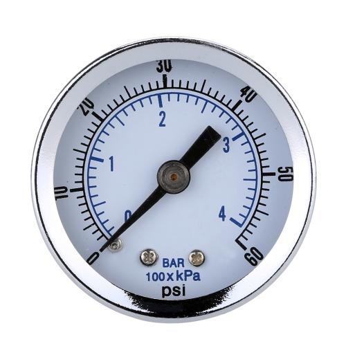 """1/8 """"NPT Sprężarka powietrza Ciśnieniomierz hydrauliczny 0-60 PSI Płytka tylna 1,5 cala"""