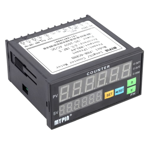KKmoon 90-260V AC/DC Digital Counter Length Batch Meter 1 Preset Relay Output