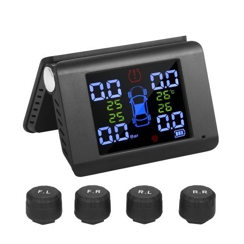 タイヤ空気圧監視システムソーラーチャージ7アラームモード0-6Bar用の4つの外部Tmpセンサーを備えたフルカラースクリーン折りたたみ式デザイン