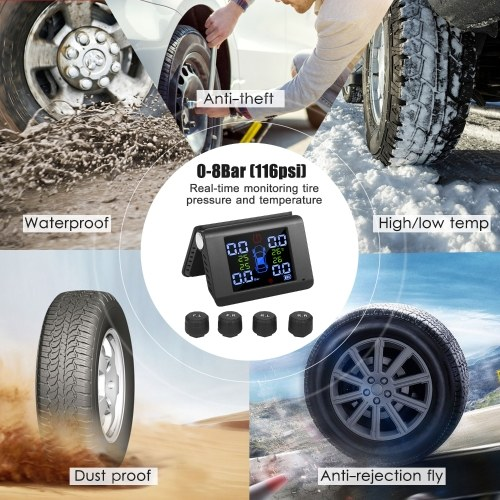 Tire Pressure Monitoring System Solar Charge 7 Alarm Modes Full-Color Screen Foldable Design with 4