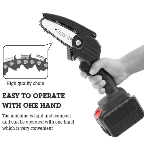 Portable Electric Pruning Saw Small Wood Spliting Chainsaw One-handed Woodworking Tool for Garden Orchard (Without Batteries)