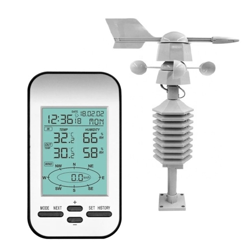 433MHz Wireless Indoor Outdoor Weather Station LCD Display with Backlight Digital Thermometer Hygrometer Temperature / Humidity / Wind Speed / Wind Direction / Time / Date / Week / Alarm Clock
