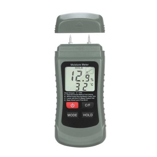 Holzfeuchtemessgerät LCD Digitaler Feuchtigkeitsprüfer Pin Typ Wasserleck- und Feuchtigkeitsdetektor mit 4 Modi Daten halten ℃ / ℉ Temperaturmesser
