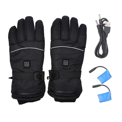 Rechargeable Heated Gloves Waterproof Gloves Insulated Mitts Auto Regulate Electric Warm Heated Gloves Outdoor Winter Sports Ski Gloves Non-Slip Mittens