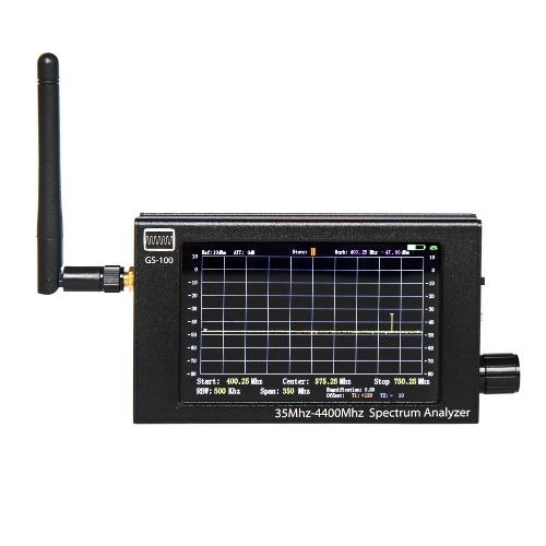 GS100 35MHz-4400MHz TFT LCD Display Screen Handheld Spectrum Analyzer Aluminum Housing Multifunction Utility Tool