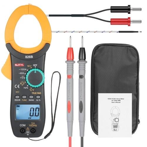 NJTY 826B 1000AACクランプメーターオートレンジ6000カウント1.9インチLCDデジタルACTrue RMSNCVクランプタイプユニバーサルメーターAC電流を測定するための多目的AC / DC電圧温度抵抗周波数容量デューティサイクルダイオードと導通