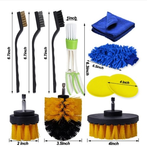 17 PCS Cleaning Brush Tool Set Car Cleaning Brush Bristle Car Washing Brush Set Working with Electric Drill