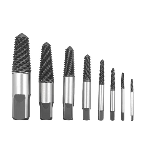 8pcs quebrado Parafuso Screw Extractor Set Remover Easy Out Brocas Ferramentas Kits para torneira válvula triangular com caixa de plástico