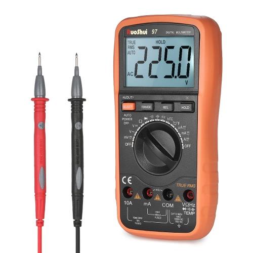RuoShui 3999 zlicza zakres automatyczny True RMS Multimetr cyfrowy wielofunkcyjny DMM z prądem stałym DC Prądowy prąd rezystancji Dioda Pojemność diody Czujnik częstotliwości Temperatura hFE Test ciągłości pomiaru HZ Podświetlany wyświetlacz LCD