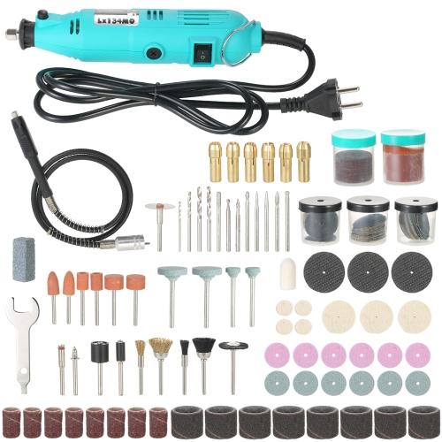 180W Rotary Tool avec 198 pièces Kit d'accessoires Flex arbre meuleuse électrique Perceuse 6 vitesses Vitesse variable gravure outils de ponçage de meulage AC220V