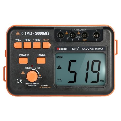 RuoShui 60B + 1000V Medidor de resistência de isolamento Tester de terra Megómetro Voltímetro w / LCD Backlight Display