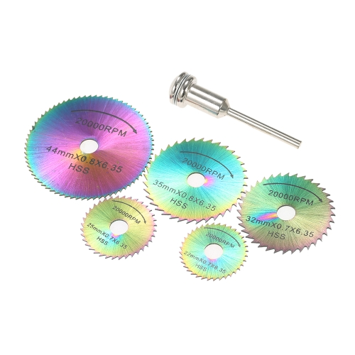 6pcs HSS Circular Saw Blades Rotary Cutting Tools Kit Set with 1/8 Shank for Cutting Timber and Plastic
