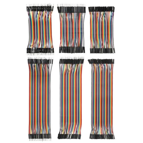 240pcs puente de placa de puente cables Kit de cables de cinta multicolor 80 pines M / M + 80 pines M / F + 80 pines F / F (10cm / 20cm)
