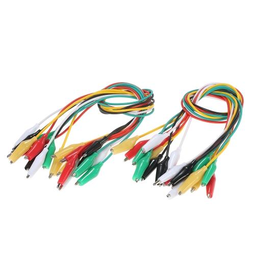 20PCS Двухсторонние Аллигаторные зажимы Тест Изолированные провода Кабельный провод 20