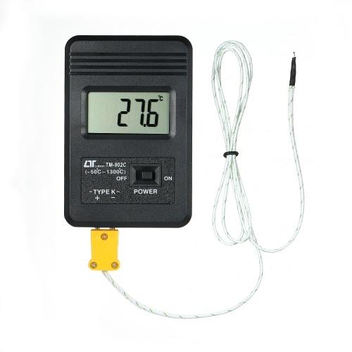 Misuratore di temperatura del termometro digitale K-LCD portatile con sonda a termocoppia -50 ~ 1300 ° C Intervallo di temperatura